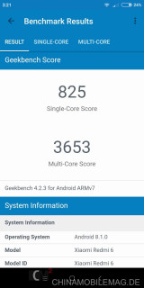 Xiaomi Redmi 6 Geekbench Multi Core