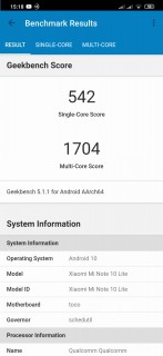 xiaomi mi note 10 lite geekbench cpu
